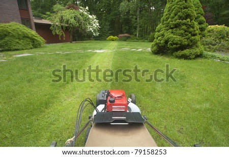 Lawnmower cutting grass as viewed by operator - stock photo