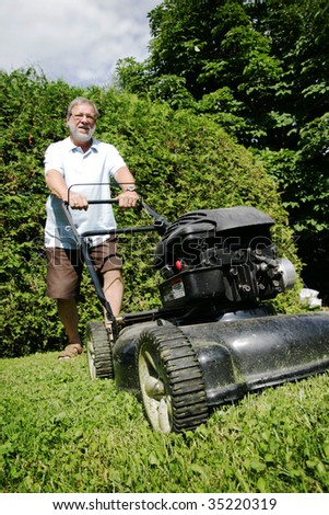 Lawnmower man - stock photo