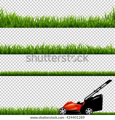 Lawnmower With Green Grass, Isolated on Transparent Background - stock photo