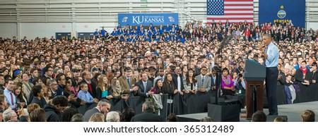 Lawrence, KS - January 22, 2015: President Obama speaks at the University of Kansas - stock photo