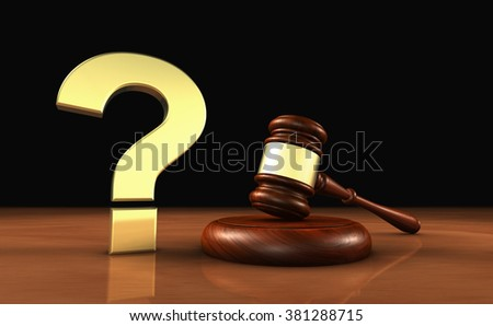 Laws and legal questions concept 3d illustration with a golden question mark symbol and a wooden judge gavel. - stock photo
