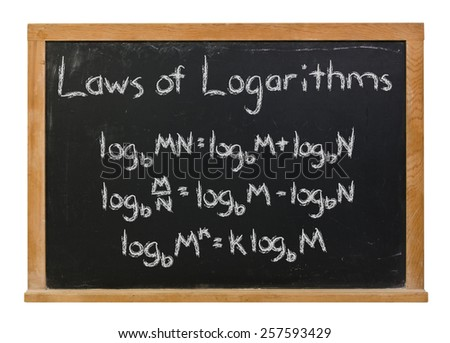 Laws of logarithms written in white chalk on a black chalkboard isolated on white - stock photo