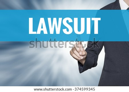 Lawsuit word on virtual screen touch by business woman cyan sky tab - stock photo