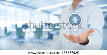Lawyer (advocate, jurist) help protect rights. Law represented by paragraph symbol. Protection of rights and freedoms. Wide banner composition with office in background.  - stock photo