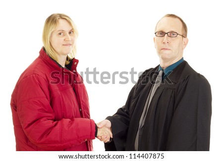 Lawyer and client shake hands - stock photo