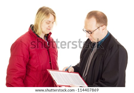 Lawyer consult with the client about an agreement - stock photo