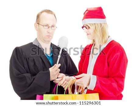 Lawyer getting toilet brush from santa claus - stock photo