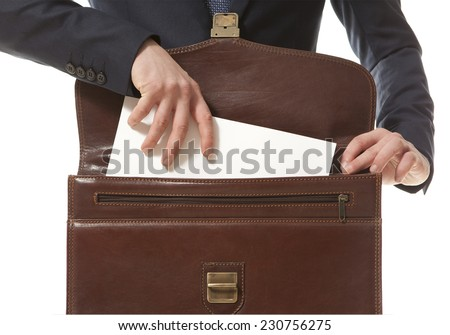 Lawyer in court documents from his briefcase gets - stock photo