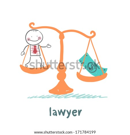 lawyer is in the balance with the money - stock photo