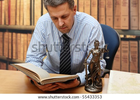 Lawyer reading a book - stock photo