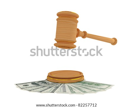 Lawyer's hammer and dollars. 3d rendered. Isolated on white background. - stock photo