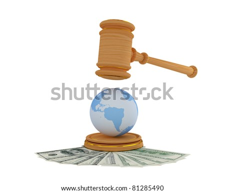 Lawyer's hammer, dollars and Earth model. 3d rendered. Isolated on white. - stock photo
