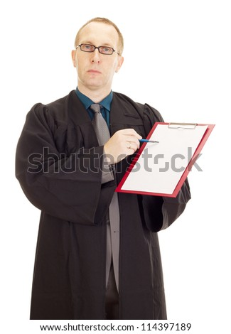 Lawyer with a blank paper on his clipboard - stock photo
