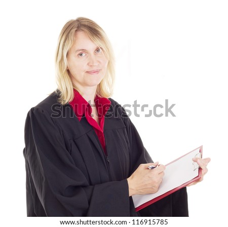 Lawyer with red clipboard