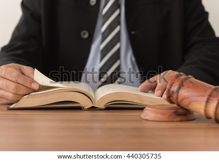 Lawyers are reading law books. Concept of legal, attorney, education. - stock photo