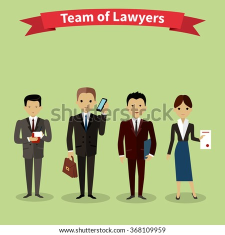 Lawyers team people group flat style. Law firm, attorney and lawyer office, legal and teamwork, work executive manager, partner authority, jurist or advocate illustration. Raster version - stock photo