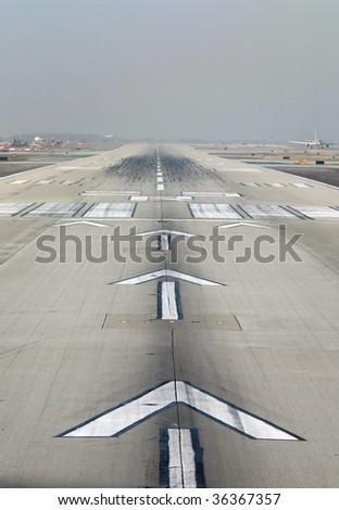 LAX runway at takeoff - stock photo