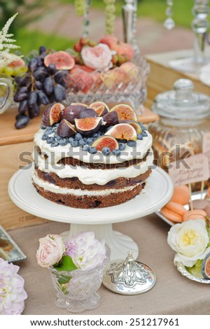Layer cakes with protein cream and fresh blueberries and figs on a cake stand outdoors - stock photo