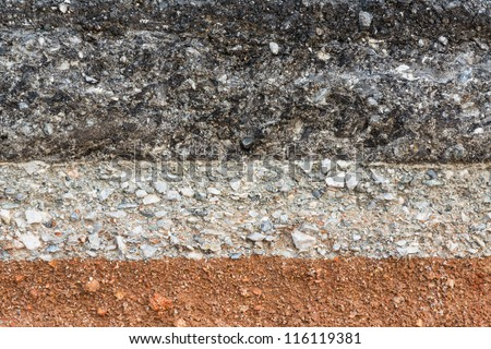 Layer of asphalt road - stock photo