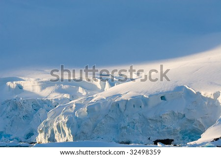 layer of creamy blue ice - stock photo