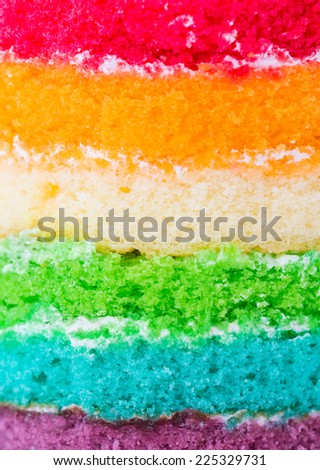 Layer of rainbow cake - stock photo