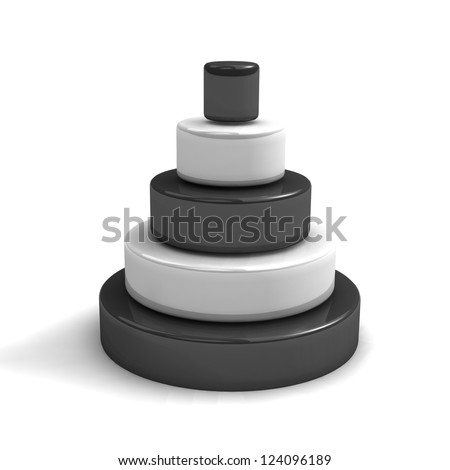 Layer pyramid.Concept. 3d illustration - stock photo