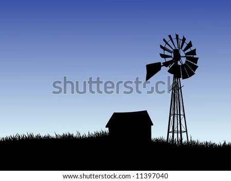 Layer-separated illustration of a Farm House and Windmill Silhouette. - stock photo