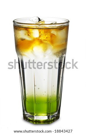 Layered Alcoholic Cocktail made of Cognac, Soda and Banana Syrup. Isolated on White Background - stock photo