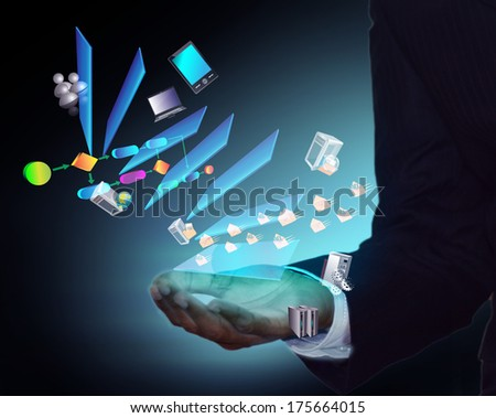 Layered architecture flying from Business man hand - stock photo