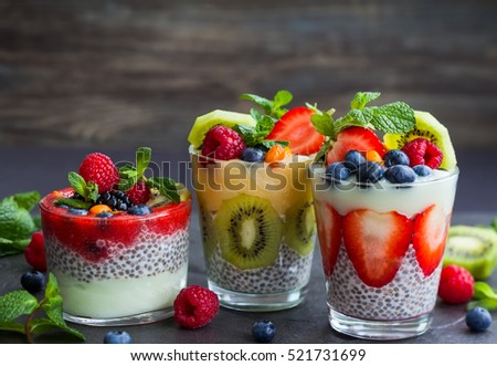 Layered berry and chia seeds smoothies.
