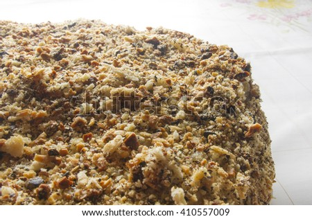 layered big holiday cake sprinkled with walnuts