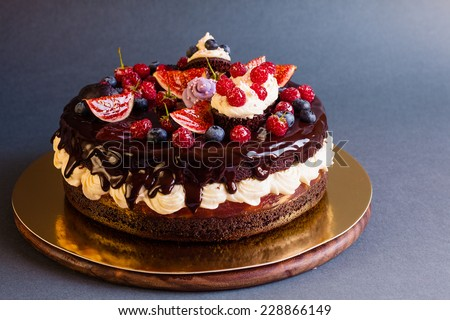 Layered chocolate cake decorated with cream and fruit on dark background - stock photo