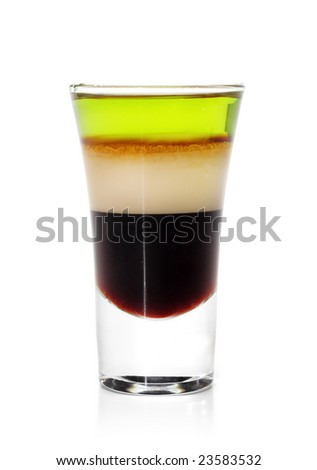 Layered Cocktail Shooter made of Absinthe, Irish Cream, Kahlua. Isolated on White Background