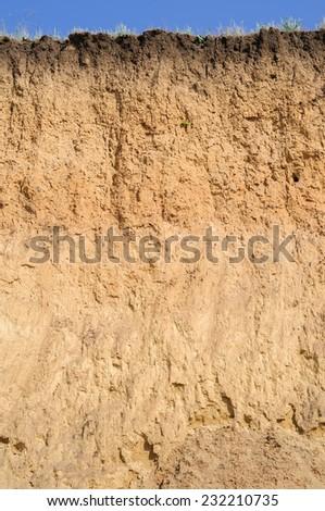Layered cut of soil - stock photo