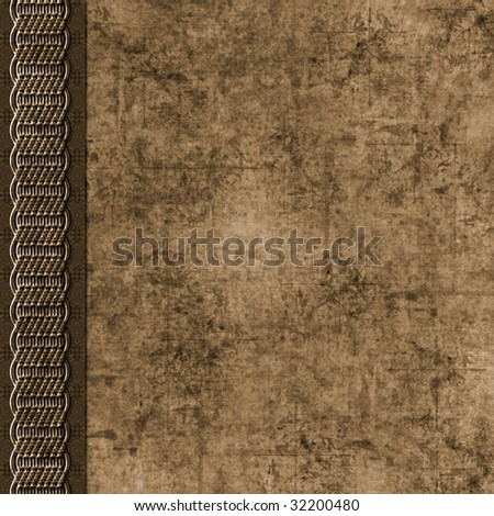 Layered dirty brown grunge background with braid border
