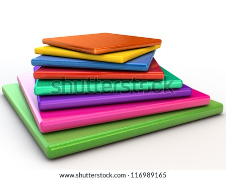 Layered glossy pyramid over white background - stock photo