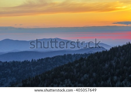 Layered peaks at sunset, Great Smoky Mountains - stock photo