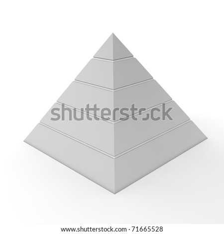 layered pyramid chart template with five levels in light grey - stock photo