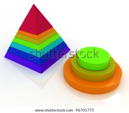 Layered pyramids on white background with reflection
