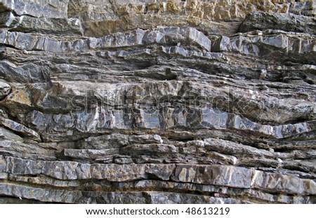 Layered rock on high steep sea bank - stock photo