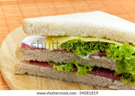 Layered sandwich isolated on orange