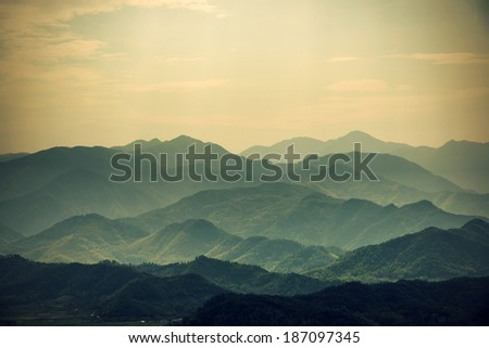 Layers of Chinese Mountains - stock photo