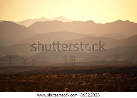 Layers of desert mountains - stock photo