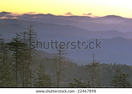layers of great smoky mountains at sunrise