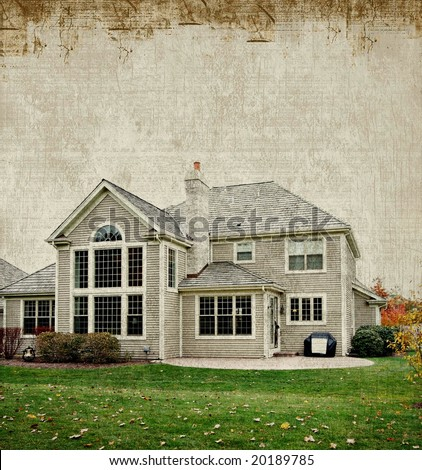 Layers of grunge over house photograph