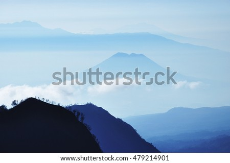 Layers of mountains in East Java, Indonesia