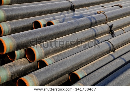 Layers of steel pipe - stock photo