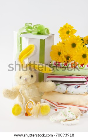 Layette clothes for newborn baby - stock photo