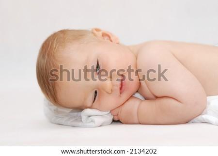 Laying baby - stock photo