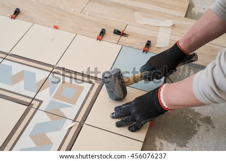 Laying Colored Ceramic Tiles On Concrete Stock Photo (Edit Now ...